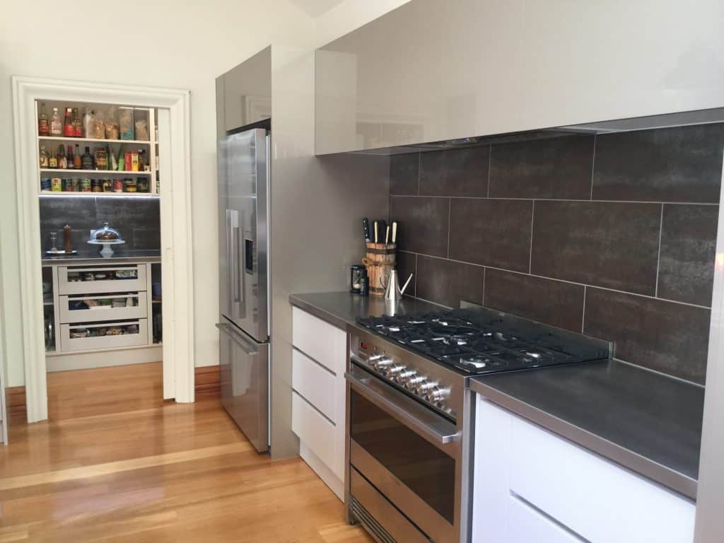 Thorndon, Wellington Interior Design Consultation - Contemporary kitchen., Butler's pantry, Metallic tiled splashback, High gloss joinery